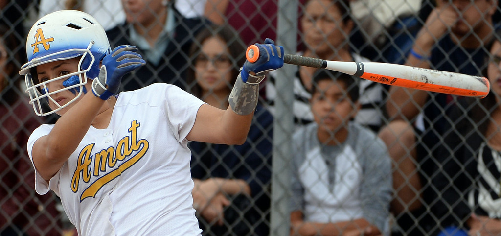 Description of . Bishop Amat's Miranda Larios (C) in the first inning of a prep playoff softball game against La Serna at Bishop Amat High School in La Puente, Calif., on Thursday, May 22, 2014. La Serna won 6-0.   (Keith Birmingham/Pasadena Star-News)