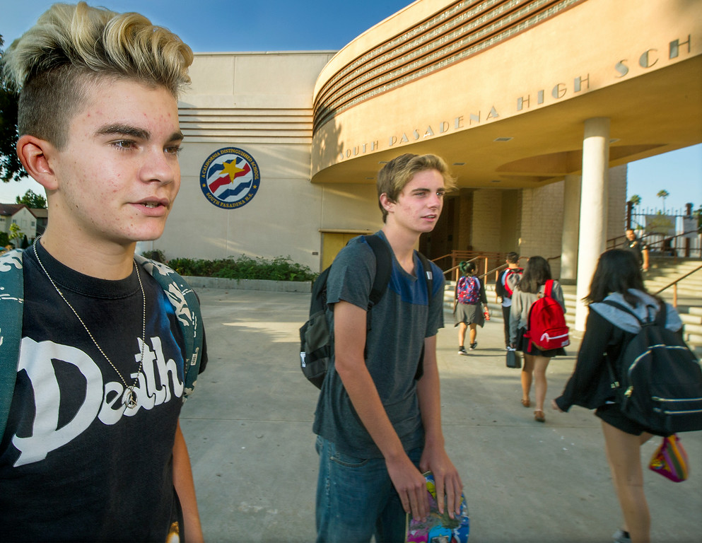 Description of . Sam Hoadley, 16 and Jackson Thiel 17, seniors discussing their concerns on first day back to school at South Pasadena High School Thursday, August 21, 2014. This the the campus where a 16- and 17-year-old boy allegedly planned a mass shooting to kill three staff members and as many students as possible, Police Chief Arthur Miller said. The Los Angeles County District Attorney's Office on Wednesday charged both boys with one count of making criminal threats. The D.A. has not charged the teens for conspiracy to commit a mass shooting, just a shooting. (Photo by Walt Mancini/Pasadena Star-News)
