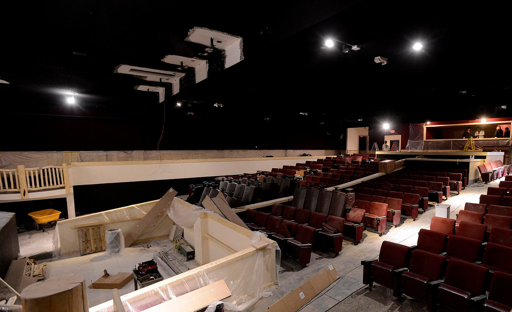 Description of . A view of construction being completed in The Cave Theater in Big Bear Lake May 6, 2013.  The music venue, which was originally a movie theater, is set for a grand re-opening for June 7.  GABRIEL LUIS ACOSTA/STAFF PHOTOGRAPHER.