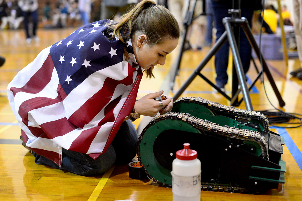 Description of . Avengers Erin Evans readies her team's vehicle the Hulk as teams of mechanical engineering Caltech students compete in the annual ME72 Engineering Design Contest at the Pasadena campus Tuesday, March 11, 2014. The goal in
