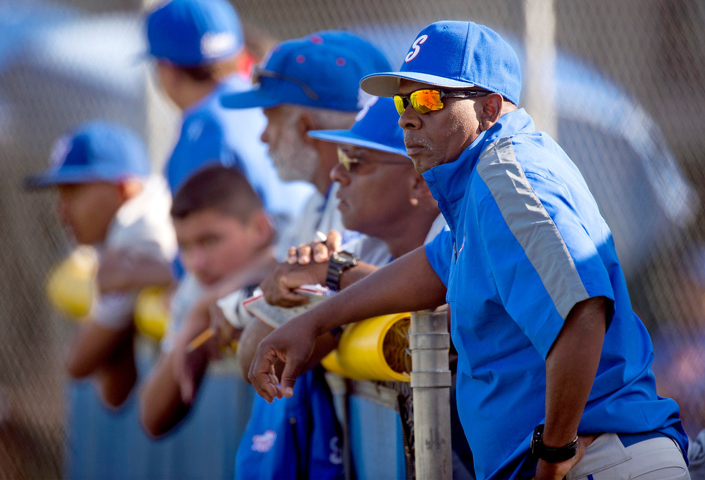Description of . Serra High baseball vs Bishop Amat at Amat's La Puente, Calif. campus field April 16, 2014.  (Staff photo by Leo Jarzomb/San Gabriel Valley Tribune)