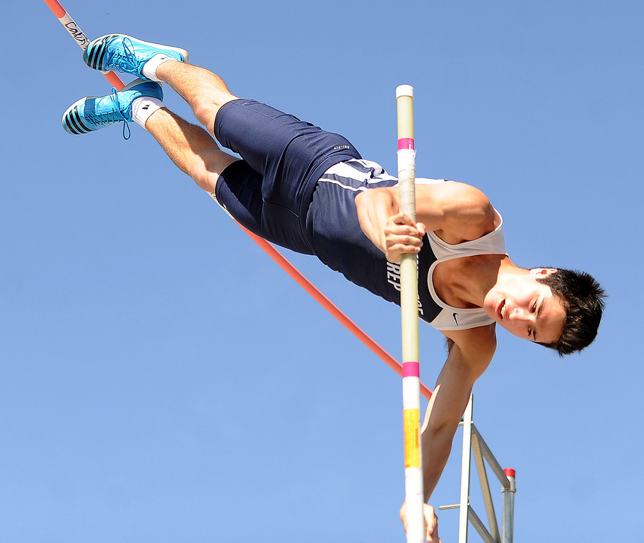 Description of . Flintridge Prep's Gareth Weiss competes in the pole vault during the CIF-SS Masters Track and Field meet at Falcon Field on the campus of Cerritos College in Norwalk, Calif., on Friday, May 30, 2014.   (Keith Birmingham/Pasadena Star-News)
