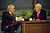 FILE - In this  May 22, 1992 file photo, Ed McMahon, left, shakes hands with talk show host Johnny Carson, during the final taping of the