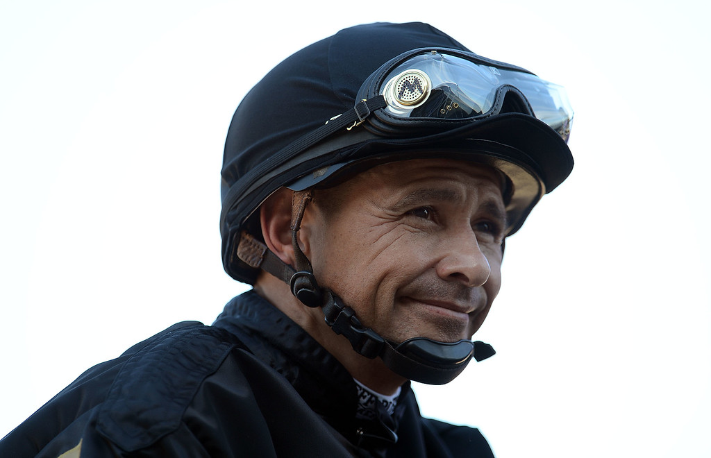 Description of . Jockey Mike Smith prior to the Filly & Mare Sprint in the sixth race during the Breeders' Cup at Santa Anita Park in Arcadia, Calif., on Saturday, Nov. 2, 2013.    (Keith Birmingham Pasadena Star-News)