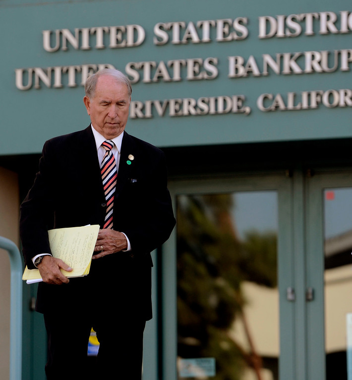 Description of . San Bernardino mayor Patrick Morris leaves the United States Bankruptcy court in Riverside August 28. 2013.    GABRIEL LUIS ACOSTA/STAFF PHOTOGRAPHER.
