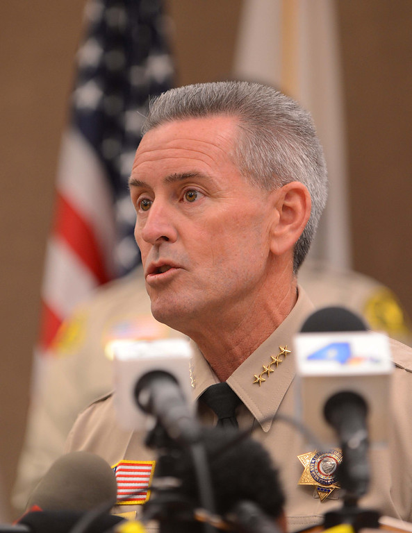 Description of . San Bernardino County Sheriff John McMahon  speaks at a news conference at the San Bernardino County Sheriff's Department on  Friday, Nov. 15, 2013, where the identities of two of the sets of remains found near Victorville earlier in the week were revealed. (LaFonzo Carter/The Sun)