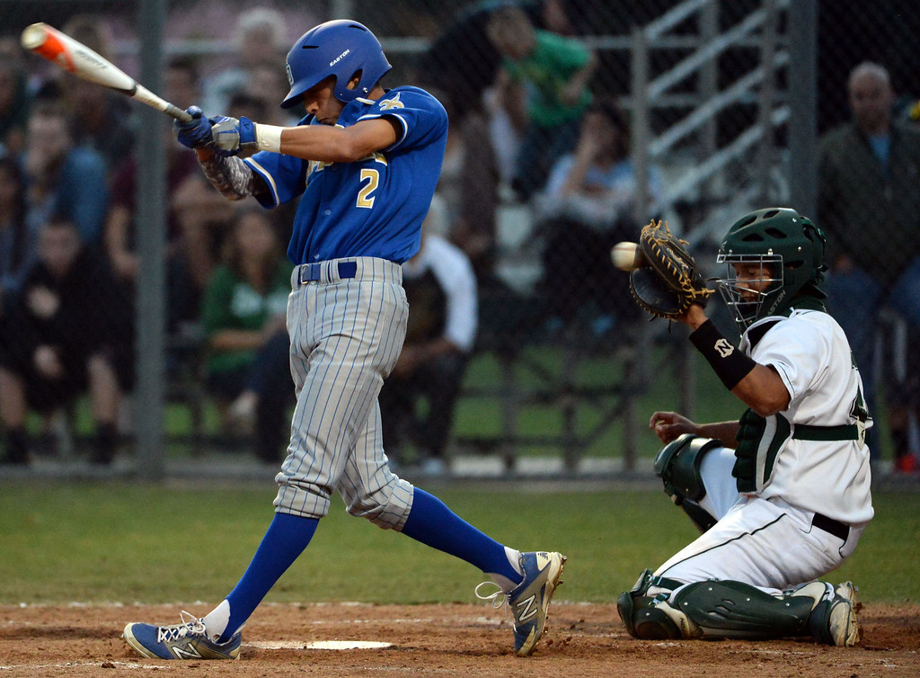Description of . San Dimas' Josh Avila (C) (2) strikes out with the bases loaded in the third inning of a prep baseball game against Bonita at Bonita High School in La Verne, Calif., on Wednesday, March 19, 2014.  (Keith Birmingham Pasadena Star-News)