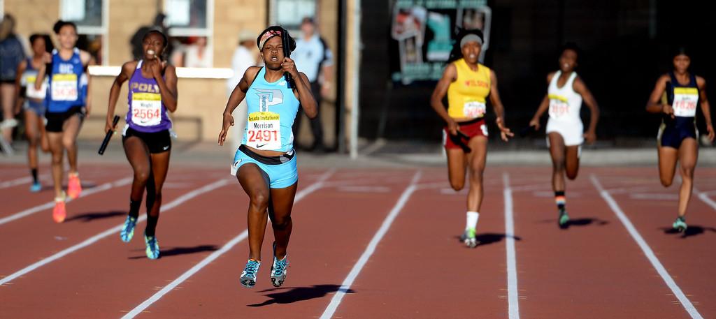 Description of . Parkland's Ebony Williams runs the last leg as Parkland wins the 4x200 meter relay invitational during the Arcadia Invitational track and field meet at Arcadia High School in Arcadia, Calif., on Friday, April 11, 2014.  (Keith Birmingham Pasadena Star-News)