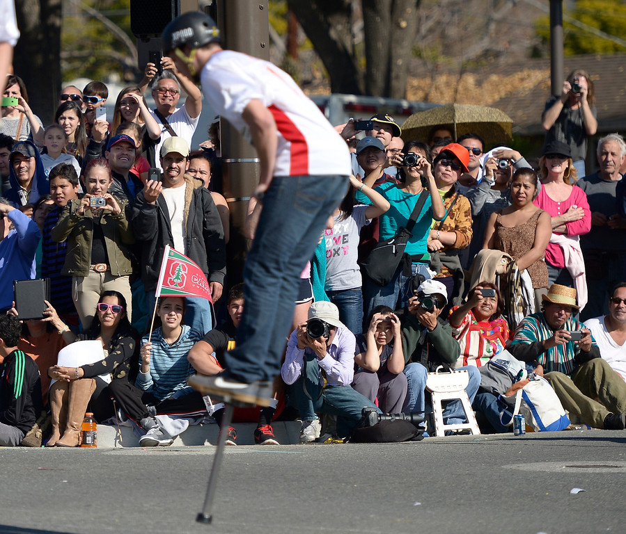 Description of . The Xpogo team was a crowd pleaser near the end of the parade route during the 2014 Rose Parade in Pasadena, CA January 1, 2014.(John McCoy/Los Angeles Daily News)