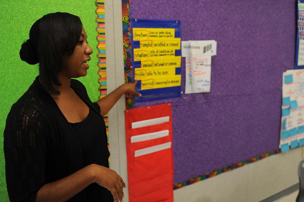 Description of . Mrs. Morris class at new Little Mountain Elementary School in San Bernardino.LaFonzo Carter/ Staff Photographer