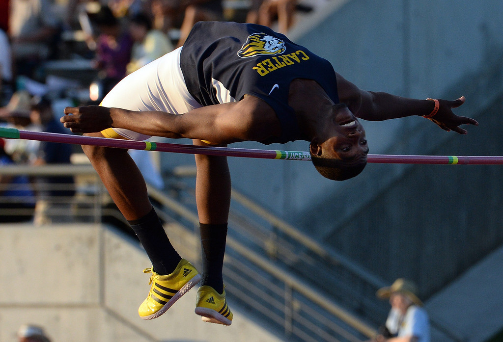 Description of . Carter's Eric Moore wins the high jump during the CIF California State Track & Field Championships at Veteran's Memorial Stadium on the campus of Buchanan High School in Clovis, Calif., on Saturday, June 7, 2014.   (Keith Birmingham/Pasadena Star-News)