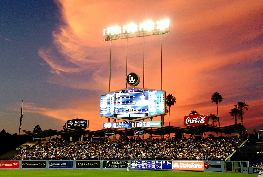 Description of . Sunset during a Major league baseball game between the San Diego Padres and the Los Angeles Dodgers on Saturday, July 12, 2014 in Los Angeles.   (Keith Birmingham/Pasadena Star-News)