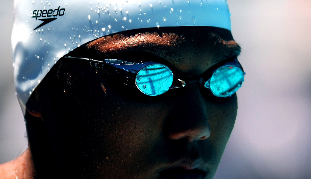 Description of . Crescenta Valley's Young Tae Seo prior to the start of the 100 yard Breaststroke during the CIF-SS Division II swim finals at Riverside City College on Saturday, May 11, 2013 in Riverside, Calif.  (Keith Birmingham Pasadena Star-News)