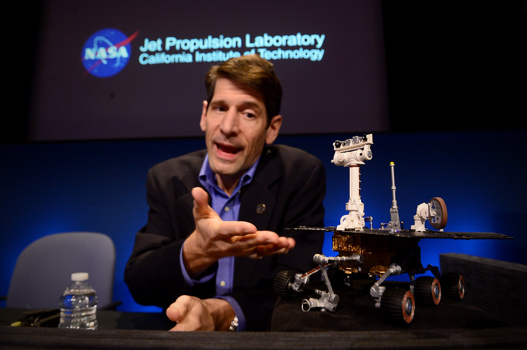 Description of . With a model of Opportunity, John Callas, Mars Exploration Rovers project manager, talks about Opportunity's 10 years of exploring Mars at NASA's JPL in Pasadena Thursday, January 23, 2014. The rover was built for a three-month mission.  (Photo by Sarah Reingewirtz/Pasadena Star-News)