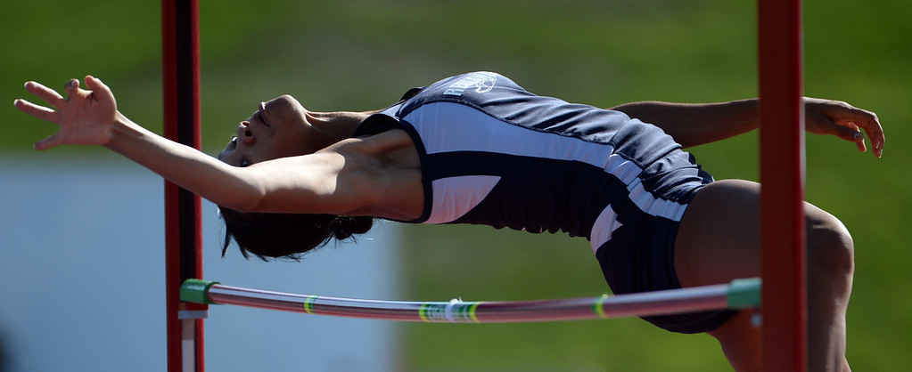 Description of . Redlands' Savannah Miller competes in the High Jump during the CIF California State Track & Field Championships at Veteran's Memorial Stadium on the campus of Buchanan High School in Clovis, Calif., on Saturday, June 7, 2014. 