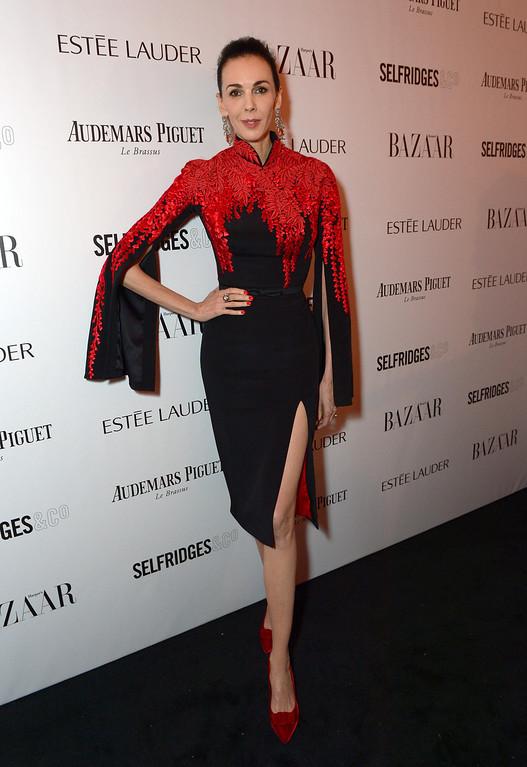 Description of . L'Wren Scott attends Harper's Bazaar Women of the Year Awards 2013 at Claridge's Hotel on Tuesday, Nov. 5, 2013, in London. (Photo by Jon Furniss/Invision for Harper's Bazaar/AP)