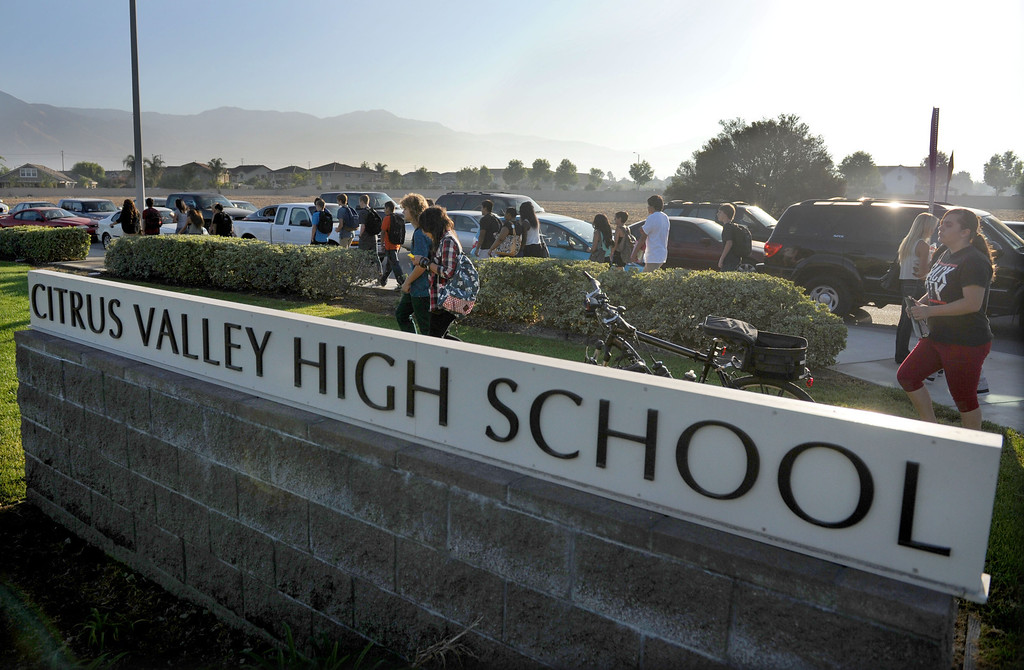 Description of . (John Valenzuela/Staff Photographer) Citrus Valley High School students return to campus after the summer break, for the start of a new school year. The 2013-2014 school year begins August 14 for all schools in the Redlands School District.