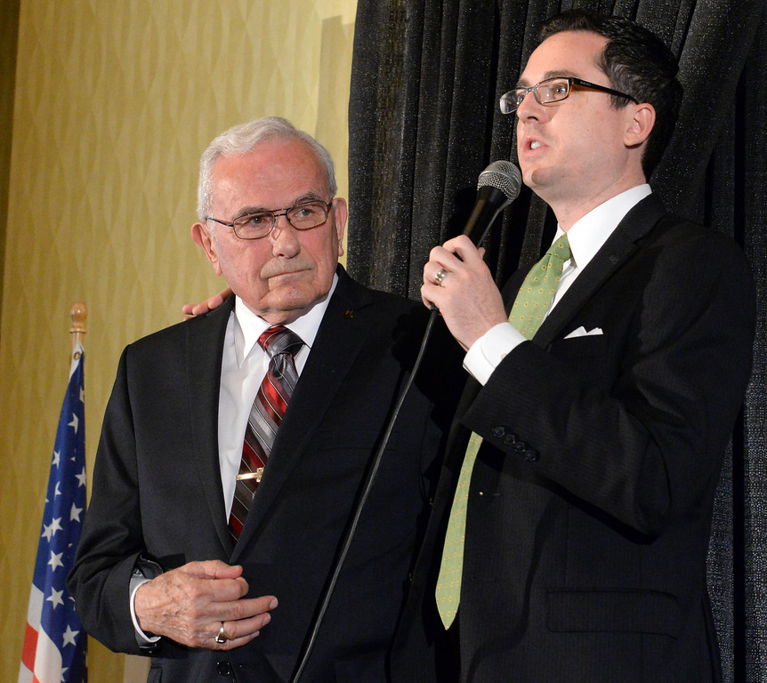 Description of . David Krake, right, and Jack Carmichael during the 49th annual Mayor's Prayer Breakfast at the Radisson Hotel Whittier on Friday April 18, 2014. The prayer breakfast is modeled after the National Prayer Breakfast in Washington D.C. and was started in Whittier in 1965 . (Staff Photo by Keith Durflinger/Whittier Daily News)