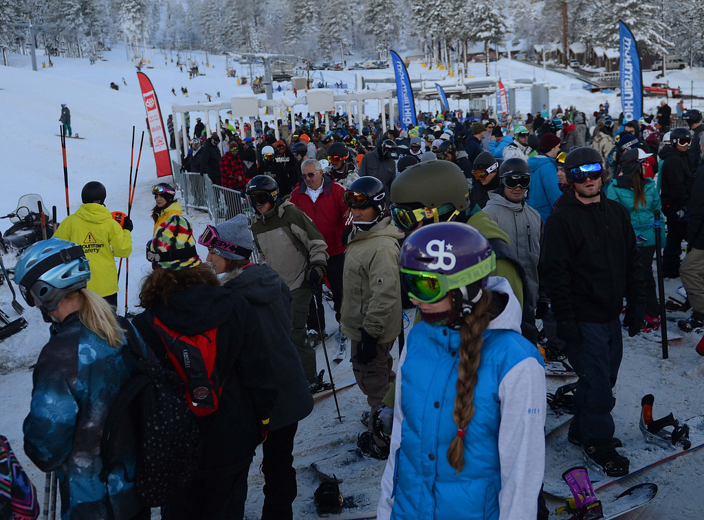 Description of . Snowboarders and skiers took to the slopes at Mountain High West Resort on Sunday, Nov.24, 2013, in Wrightwood. Mountain High is the first resort to open in Southern California for the 2013-14 season. LaFonzo Carter/The Sun