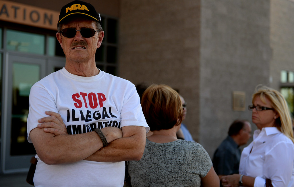 Description of . Murrieta Mayor Alan Long holds a town hall meeting on Wednesday, July 2, 2014 at Murrieta Mesa High School in Murrieta, Ca. The meeting is being held in response to immigrants who were being processed through a Texas Border Patrol Station and delivered to the Murrieta Border Patrol Station on Tuesday, which created protests from both sides of the immigration issue. (Micah Escamilla/The Sun)