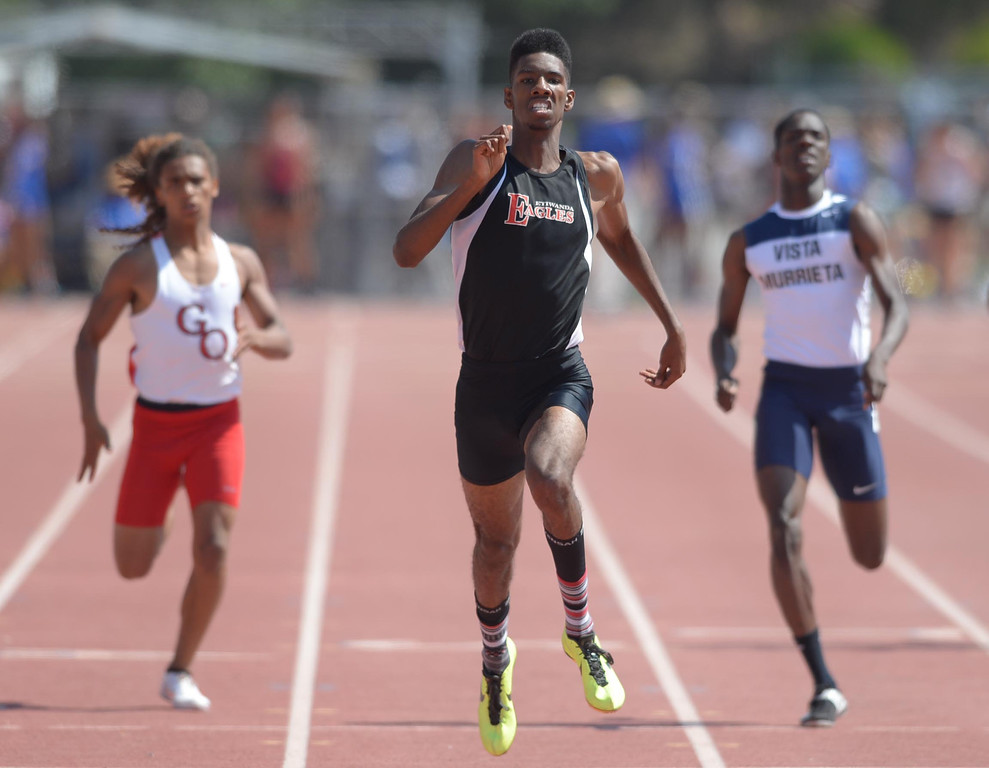 Description of . Etiwanda's Miles Parish wins the 400 meter Division 1 race of the CIF Southern Section Track and Field Championships Saturday at Mt. SAC. 20130518 Photo by Steve McCrank / Staff Photographer
