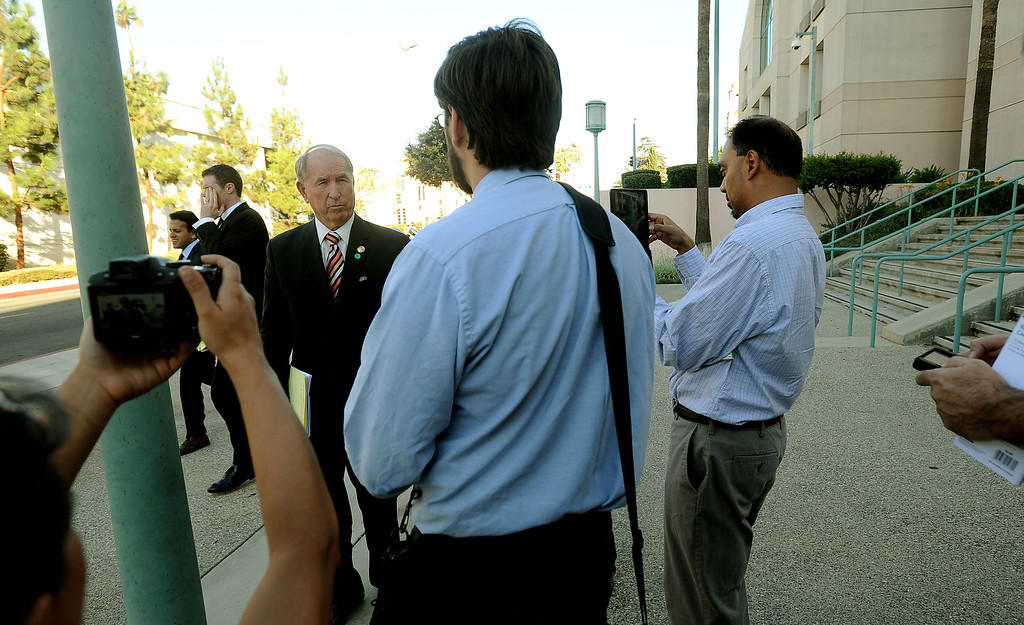 Description of . San Bernardino mayor Patrick Morris speaks to media regarding after leaving the United States Bankruptcy court in Riverside August 28. 2013.   A Federal judge ruled that the City of San Bernardino is eligible for bankruptcy protection. GABRIEL LUIS ACOSTA/STAFF PHOTOGRAPHER.
