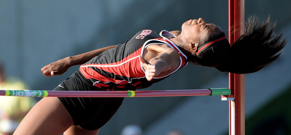 Description of . Harvard Westlake's Alexandria Florent competes in the high jump during the CIF California State Track & Field Championships at Veteran's Memorial Stadium on the campus of Buchanan High School in Clovis, Calif., on Saturday, June 7, 2014.   (Keith Birmingham/Pasadena Star-News)