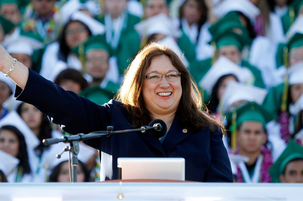 Description of . The Honorable Catherine J.K. Sandoval, during Schurr High School 2013 Commencement Exercises, at Ken Davis Field, at Schurr High School in Montebello, Thursday, June 20, 2013. (Correspondent Photo by James Carbone/SWCITY)