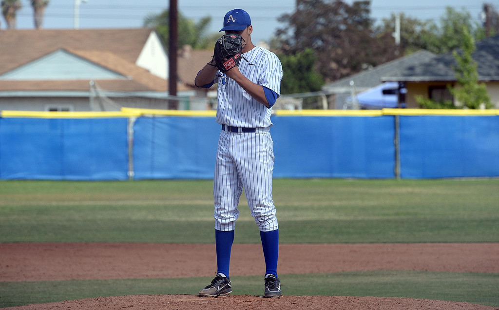 Description of . in the first inning of prep baseball game at Bishop Amat High School in La Puente, Calif., on Tuesday, May 6, 2014. (Keith Birmingham Pasadena Star-News)