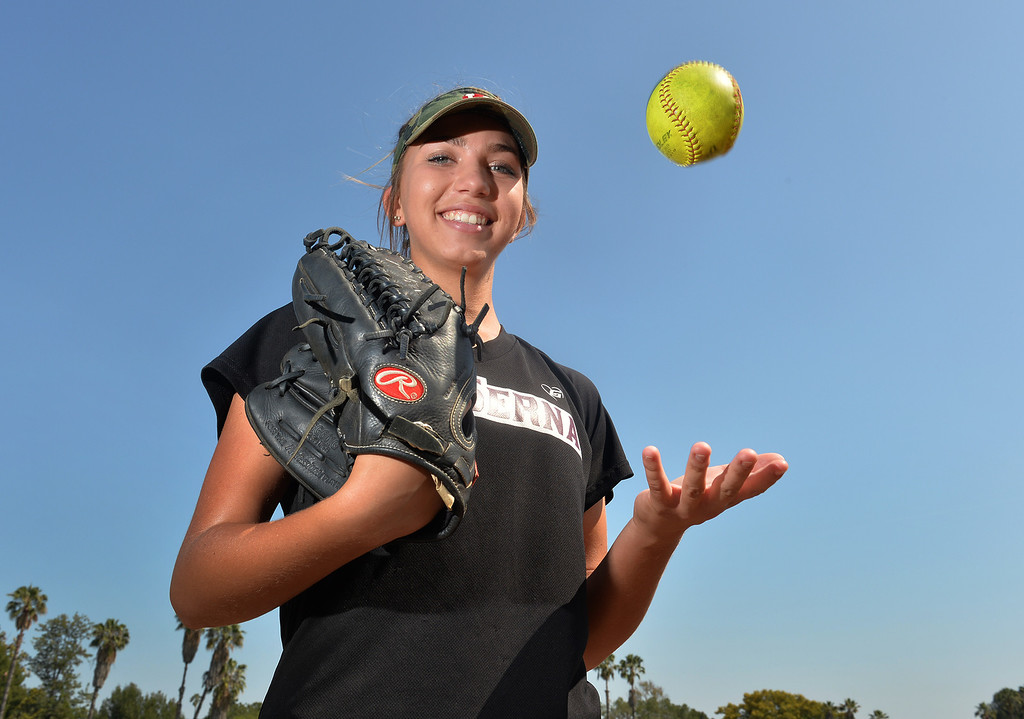 Description of . Jamie Wren from La Serna High School is named the Whittier Daily News All-Area Softball Player of the Year on Monday June 9, 2014. (Photo by Keith Durflinger/Whittier Daily News)
