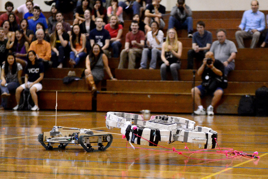 Description of . Teams of mechanical engineering Caltech students compete in the annual ME72 Engineering Design Contest at the Pasadena campus Tuesday, March 11, 2014. The goal in