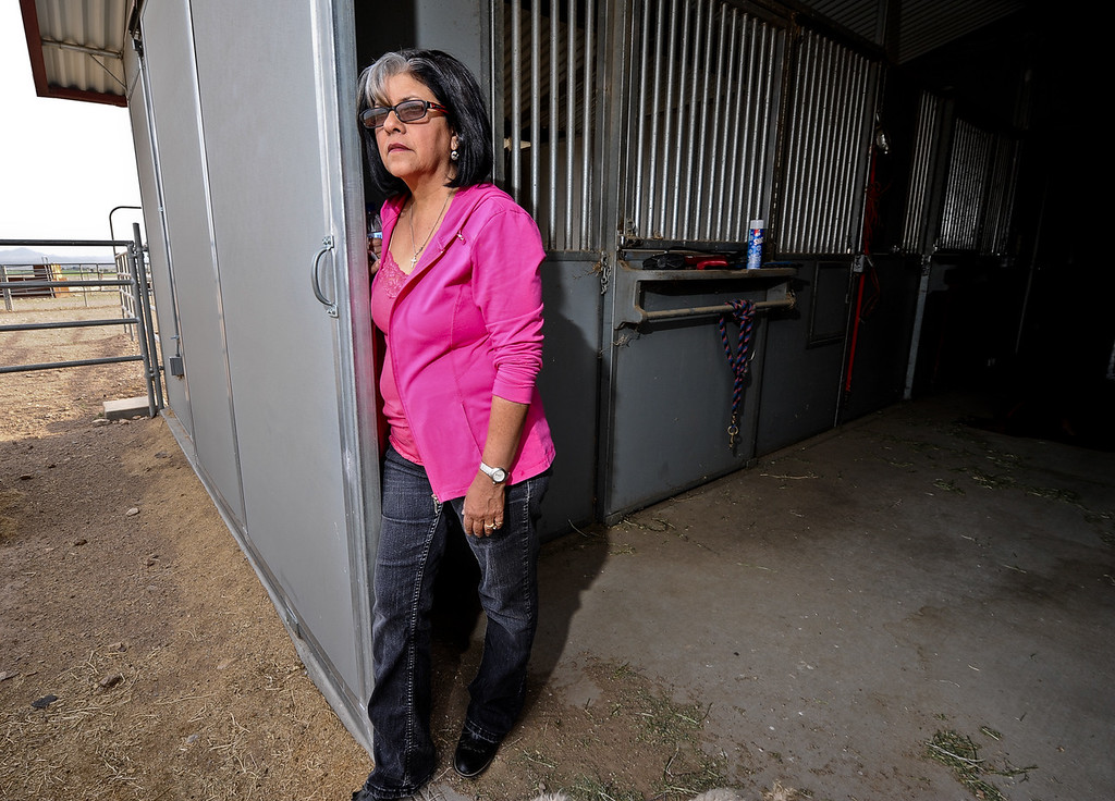 Description of . Resident Roberta Walker, 59, looks out to her 10-acre property as she leans against the barn door at her home in Hinkley, Calif. on Monday, March 25, 2013. Walker suspected wrong-doing on PG&E's part in the early 1990s and sought legal help, which eventually brought Erin Brockovich to Hinkley. (Rachel Luna / San Bernardino Sun)
