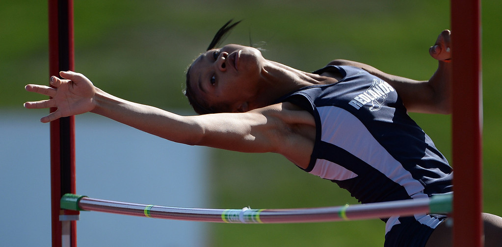 Description of . Redlands' Savannah Miller competes in the High Jump during the CIF California State Track & Field Championships at Veteran's Memorial Stadium on the campus of Buchanan High School in Clovis, Calif., on Saturday, June 7, 2014.   (Keith Birmingham/Pasadena Star-News)
