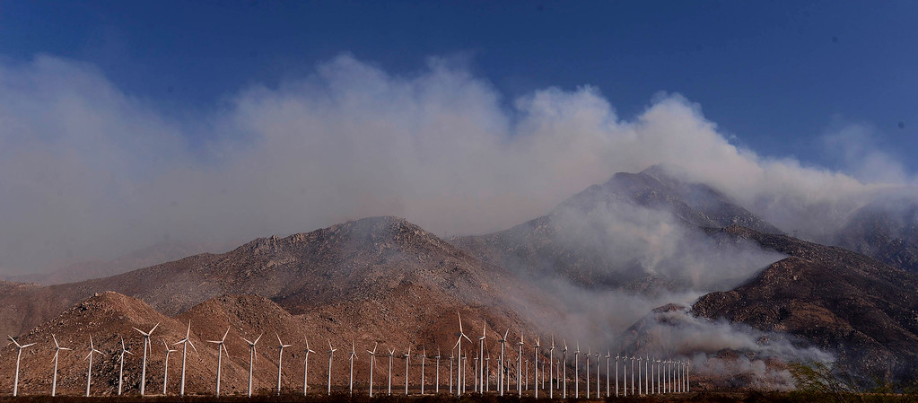 Description of . The Silver Fire burns the mountains located between Cabazon and Palm Springs August 8, 2013.  GABRIEL LUIS ACOSTA/STAFF PHOTOGRAPHER.