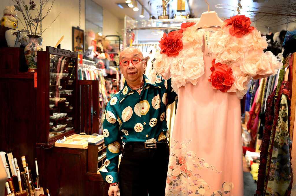 Description of . Designer Peter Lai, seen Thursday, June 20, 2013, is retiring and closing his boutique after 20 years in San Marino. In retirement Lai plans to continue to perform Kabuki and open a Japanese village in downtown Los Angeles. (SGVN/Staff Photo by Sarah Reingewirtz)