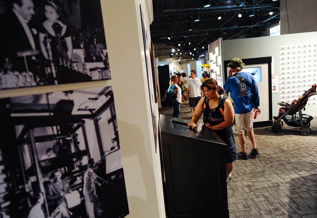 Description of . Fair-goers visit the Pencil 2 Pixels: The Art of Animation exhibit at the 91st annual Los Angeles County Fair in Pomona on Sept. 2, 2013. The fair will run through September 29. (Rachel Luna / San Bernardino Sun)