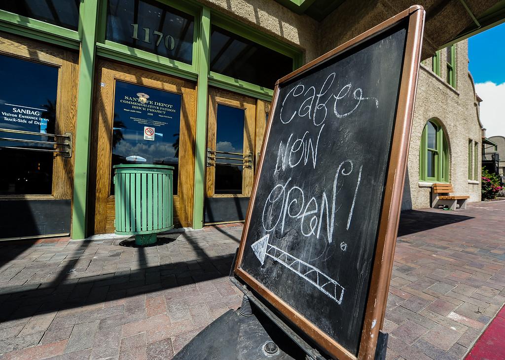 Description of . Iron Horse Cafe, which opened in March, is located inside the Santa Fe Railroad Depot in San Bernardino on Wednesday, Sept. 4, 2013. The Iron Horse Cafe's popularity as a San Bernardino food hotspot has grown through word of mouth, owner Lola Reid-Denham said. (Photo by Rachel Luna / San Bernardino Sun)