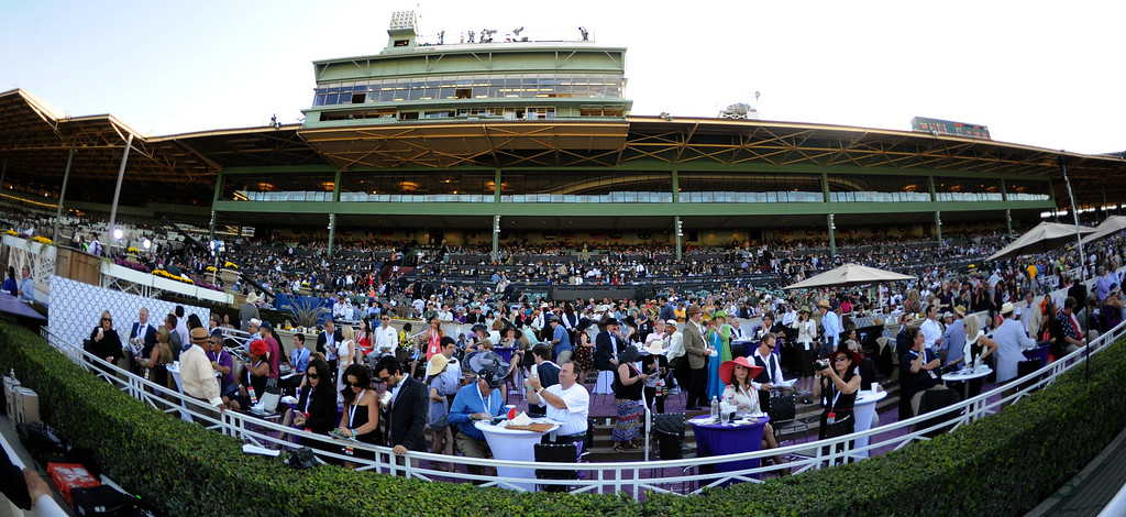 Description of . Fans look on as Jockey Martin Garcia (not pictured) atop