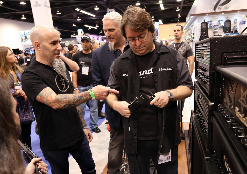 Description of . ANAHEIM, CA - JANUARY 25: Musician Scott Ian of Anthrax attends the 2014 National Association of Music Merchants show at the Anaheim Convention Center on January 25, 2014 in Anaheim, California.  (Photo by Jesse Grant/Getty Images for NAMM)