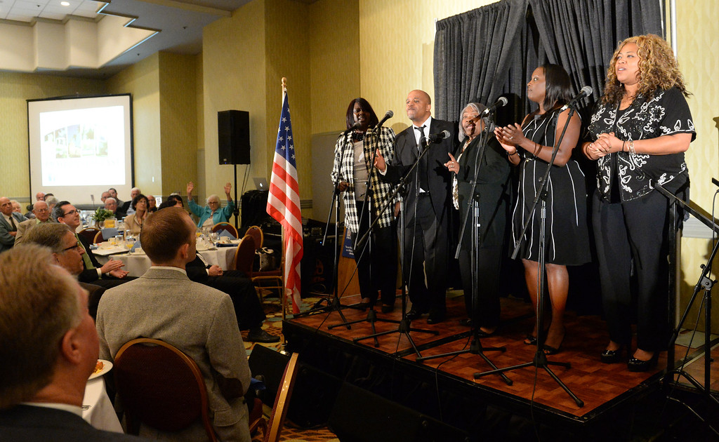 Description of . The Zoe Christian Fellowship Worship Team performs during the 49th annual Mayor's Prayer Breakfast at the Radisson Hotel Whittier on Friday April 18, 2014. The prayer breakfast is modeled after the National Prayer Breakfast in Washington D.C. and was started in Whittier in 1965 . (Staff Photo by Keith Durflinger/Whittier Daily News)