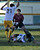2/13/13 - Narbonne's Jesus Rangel stands in the goal as teammate Angel Hernandez blocks the kick attempted by Kennedy's Ivan Martin Del Campo during the L.A. City Section Division I playoffs. Narbonne won 1-0. Photo by Brittany Murray / Staff Photographer