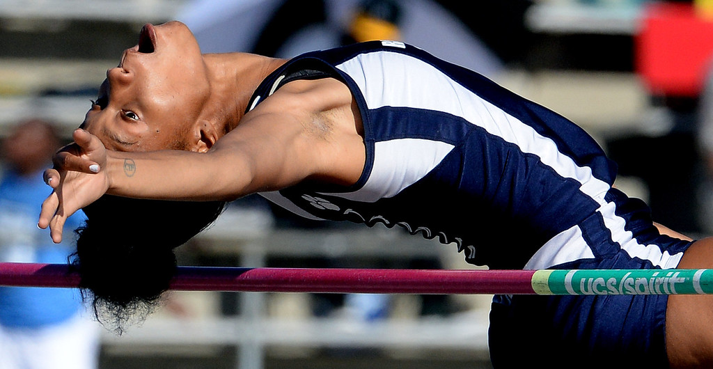Description of . Redlands' Savannah Miller competes in the high jump during the CIF-SS Masters Track and Field meet at Falcon Field on the campus of Cerritos College in Norwalk, Calif., on Friday, May 30, 2014.   (Keith Birmingham/Pasadena Star-News)