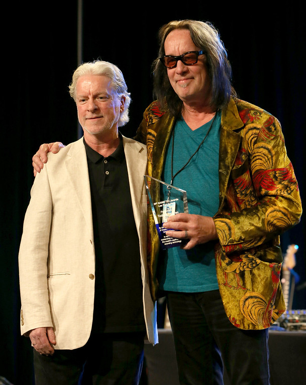 Description of . ANAHEIM, CA - JANUARY 24: Jeff Salmon and Todd Rundgren attend the NAMM Tec Awards at the Anaheim Hilton on January 24, 2014 in Anaheim, California.  (Photo by Jesse Grant/Getty Images for NAMM)