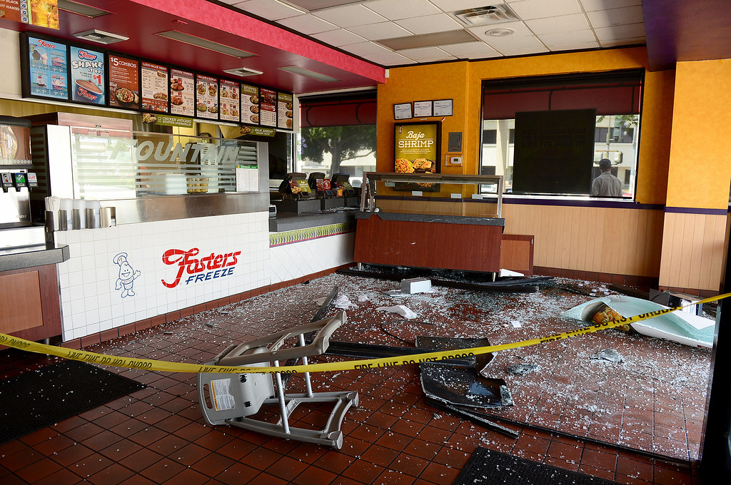 Description of . El Pollo Loco with a Fosters Freeze on Valley Mall in El Monte is closed Wednesday morning, May 15, 2013 after a vehicle crashed through a window following a collision at Santa Anita Boulevard. (SGVN/Staff Photo by Sarah Reingewirtz)