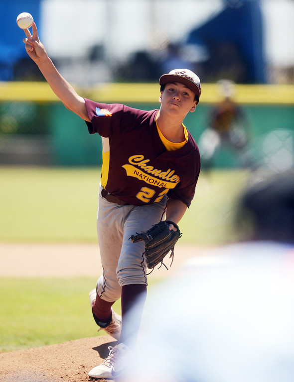 Description of . (Will Lester/Inland Valley Daily Bulletin) Chandler Little League, from Chandler, Arizona, eliminates Central East Maui, from Hawaii, with a 5-3 win Wednesday August 7, 2013 11-3 at the Little League Western Regional Tournament at Al Houghton Stadium in San Bernardino.
