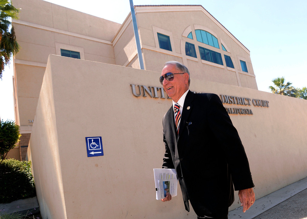 Description of . San Bernardino mayor Patrick Morris arrives to the United States Bankruptcy court in Riverside August 28, in Riverside.    GABRIEL LUIS ACOSTA/STAFF PHOTOGRAPHER.