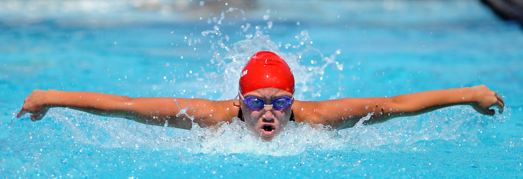 Description of . Glendora's Catherine Sanchez finished in second place in the 100 yard butterfly during the CIF-SS Division II swim finals at Riverside City College on Saturday, May 11, 2013 in Riverside, Calif.  (Keith Birmingham Pasadena Star-News)