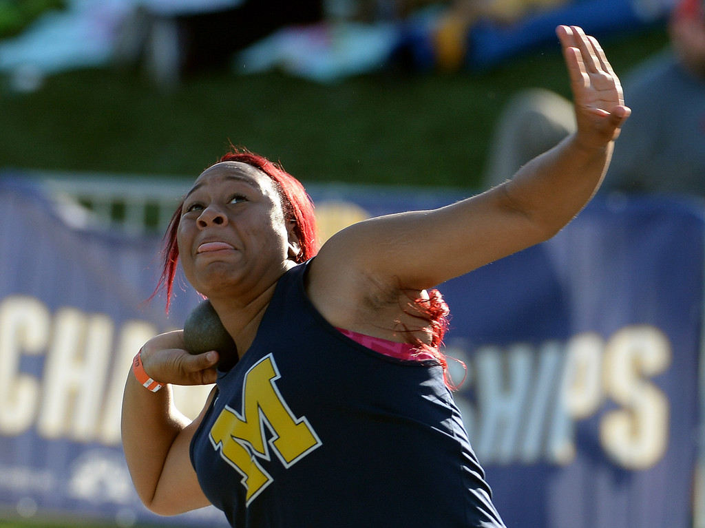 Description of . Muir's Tierra Adams competes in the shot put during the CIF California State Track & Field Championships at Veteran's Memorial Stadium on the campus of Buchanan High School in Clovis, Calif., on Saturday, June 7, 2014.   (Keith Birmingham/Pasadena Star-News)