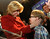 Wendy Greuel looks at her son Thomas Schramm after taking the stage to give her speech. Greuel held her election night party at the Los Angeles Brewing Company in downtown Los Angeles, CA 3/5/2013(John McCoy/Staff Photographer)