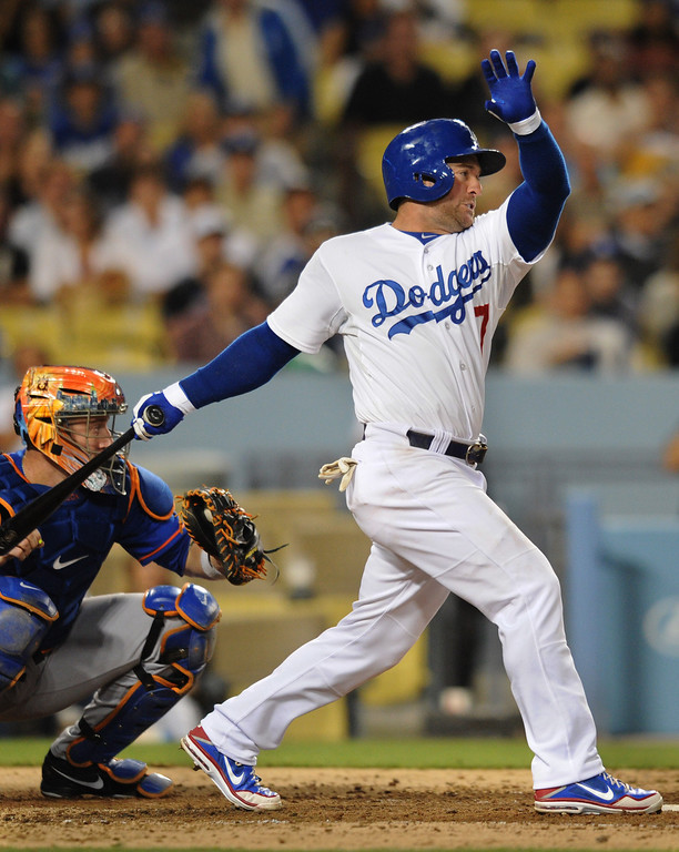 Description of . Nick Punto hits a 2 RBI double in the 5th inning. The Dodgers played the New York Mets in a game at Dodger Stadium in Los Angeles, CA. 8/13/2013.  Dodgers won 4-2.  (John McCoy/LA Daily News)